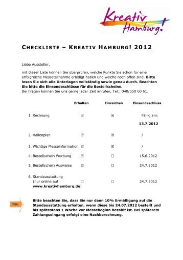 CHECKLISTE – KREATIV HAMBURG! 2012