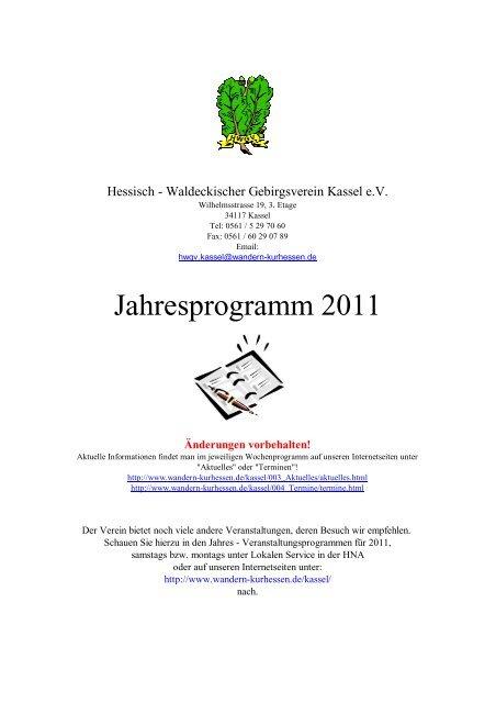 Jahresprogramm 2011 - Hessisch-Waldeckischer Gebirgs