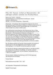 POL-KS: Kassel: Unfall an Messehallen: 29-Jähriger ... - Firmendb