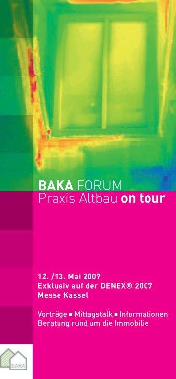 BAKA FORUM Praxis Altbau on tour