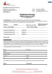 Hotelreservierung DGRh-Kongress 2015