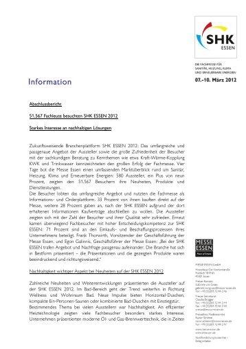 Abschlussbericht 51.567 Fachleute besuchten SHK ESSEN 2012 ...