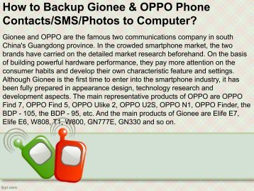 How to Backup Gionee & OPPO Phone Contacts SMS Photos to Computer