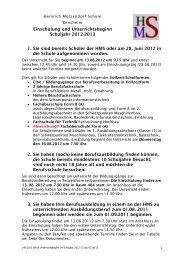 Unterrichtsbeginn im Schuljahr 2012-13 - Heinrich Metzendorf Schule