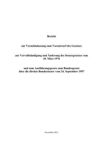 Bericht zur Vernehmlassung zum Vorentwurf des Gesetzes zur ...