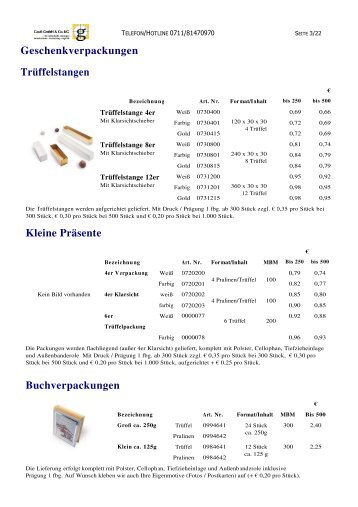 Buchverpackungen Geschenkverpackungen Trüffelstangen Kleine ...