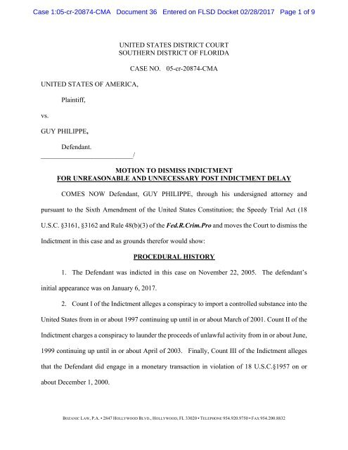 Doc. 36 Motion to Dismiss Indictment for Delay