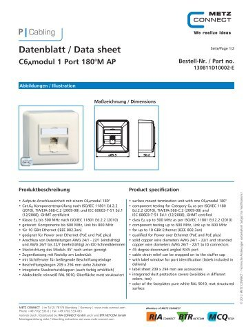 Datenblatt / Data sheet C6Amodul 1 Port 180°M AP - METZ CONNECT