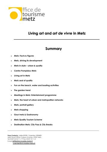 Living art and art de vivre in Metz Summary - Office de Tourisme de ...