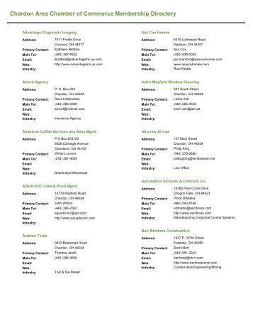 Member Directory - Chardon Area Chamber of Commerce