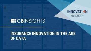 INSURANCE INNOVATION IN THE AGE OF DATA