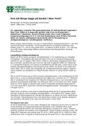 Krav til Norges innsats i New York - Norges Naturvernforbund