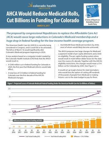 AHCA Would Reduce Medicaid Rolls Cut Billions in Funding for Colorado