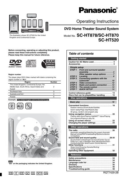 Panasonic SC-HT870 User Guide Manual Download Pdf