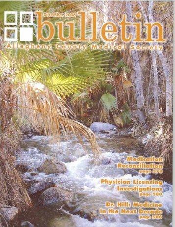 December 2006 Bulletin - Allegheny County Medical Society