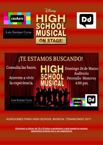 AUDICIONES PARA HIGH SCHOOL MUSICAL TENANCINGO 2017