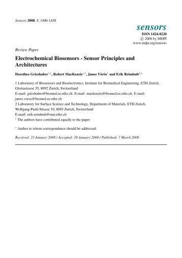 Electrochemical Biosensors-Sensor Principles and Architectures