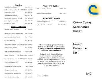 Cowley County Conservation District County Contractors List 2012