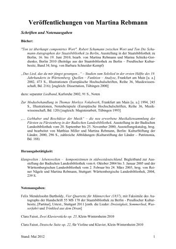 Veröffentlichungen von Martina Rebmann - Staatsbibliothek zu Berlin