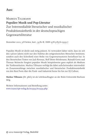Markus Tillmann Populäre Musik und Pop ... - transcript Verlag