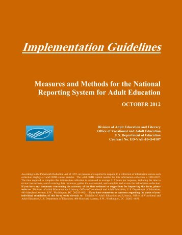NRS Implementation Guidelines - National Reporting System