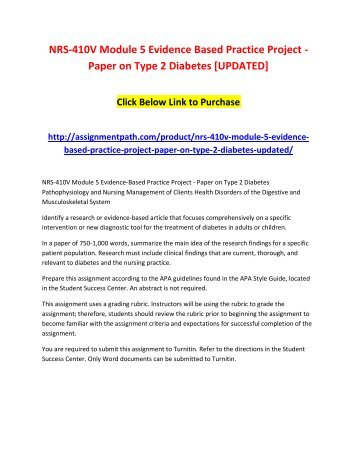 NRS-410V Module 5 Evidence Based Practice Project - Paper on Type 2 Diabetes [UPDATED]