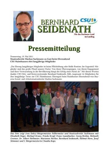 Donnerstag, 19. Mai 2011 Staatssekretär Markus Sackmann zu Gast ...