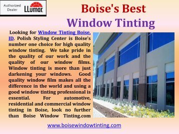 Window Tinting Services Boise| Boise Window Tinting