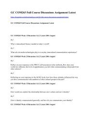 GC COM263 Full Course Discussions Assignment Latest
