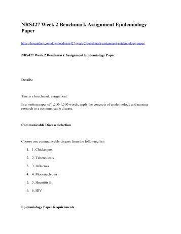 NRS 427 Week 2 Benchmark Assignment Epidemiology Paper