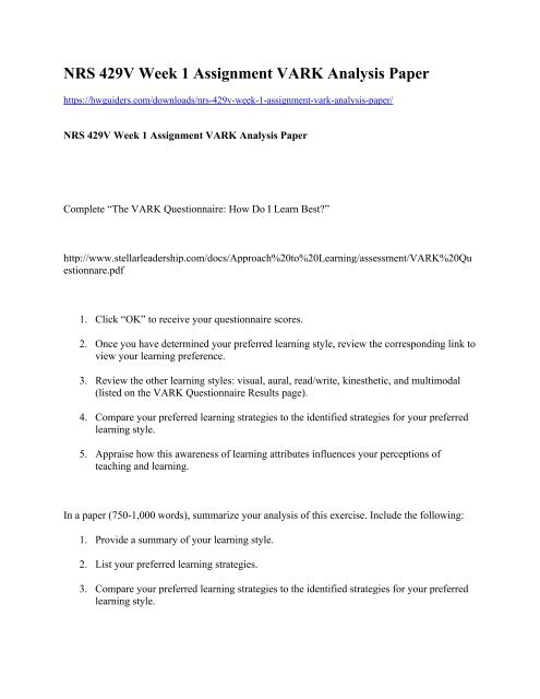 NRS 429V Week 1 Assignment VARK Analysis Paper