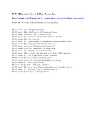 NR 361 RN Information Systems in Healthcare Complete Class