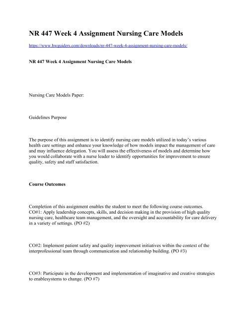 nursing care models paper