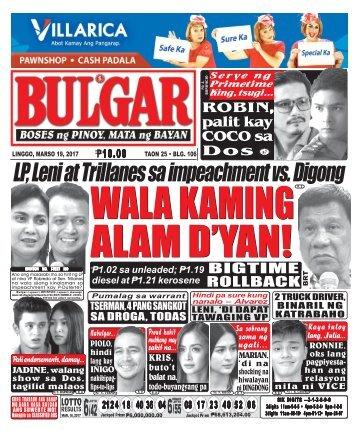 March 19, 2017 BULGAR: BOSES NG PINOY, MATA NG BAYAN