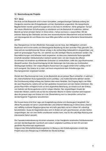 9 12. Beschreibung der Projekte 12.1 ianua Die Aula und die ...