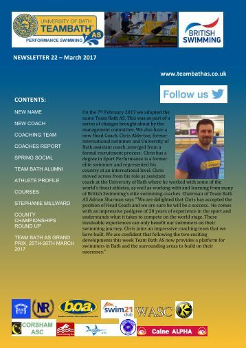 NEWSLETTER 22 – March 2017 www.teambathas.co.uk CONTENTS