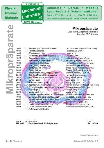 Mikropräparate | Bachmann Lehrmittel