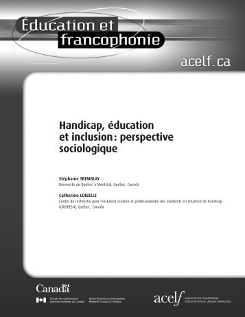 Handicap éducation et inclusion perspective sociologique