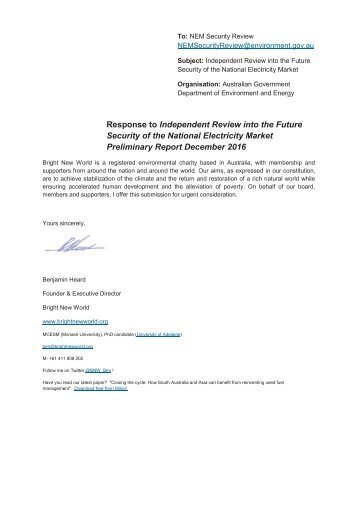 Security of the National Electricity Market Preliminary Report December 2016