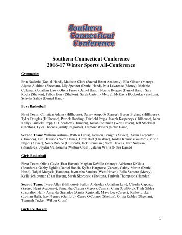 Southern Connecticut Conference 2016-17 Winter Sports All-Conference