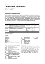 Verzeichnis Lehrtätigkeiten - Phil.-So. - Universität Augsburg