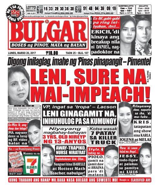 March 20, 2017 BULGAR: BOSES NG PINOY, MATA NG BAYAN