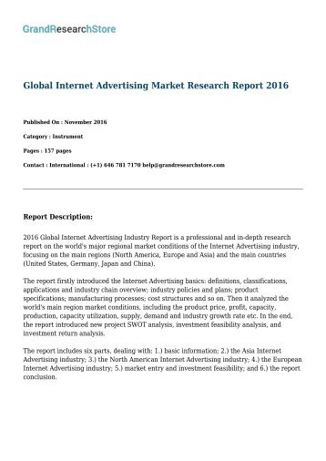 Global Internet Advertising Market by Manufacturers, Regions, Type and Application, Forecast to 2021