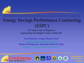 Energy Savings Performance Contracting (ESPC) - GovEnergy