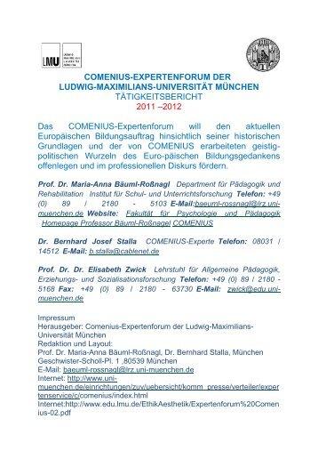 comenius-expertenforum der ludwig-maximilians-universität münchen