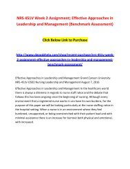 NRS 451V Week 2 Assignment; Effective Approaches in Leadership and Management (Benchmark Assessment)