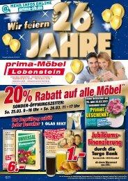 Prima Möbel Lobenstein - wir feiern 26 Jahre!