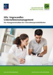 MSc Angewandtes Unternehmensmanagement