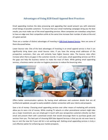 Advantages of Using B2B Email Append Best Practices