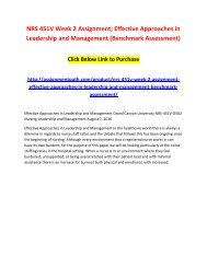 NRS 451V Week 2 Assignment - Effective Approaches in Leadership and Management (Benchmark Assessment)